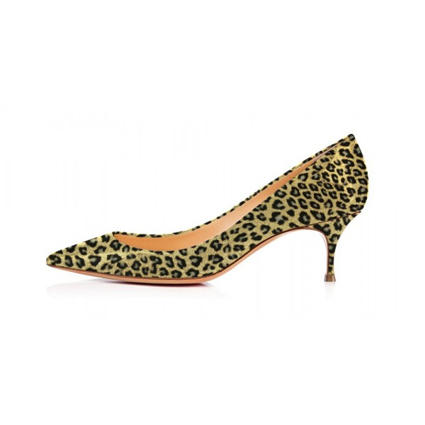 Bright Green Leopard-Print Kitten-heel Pumps image 2