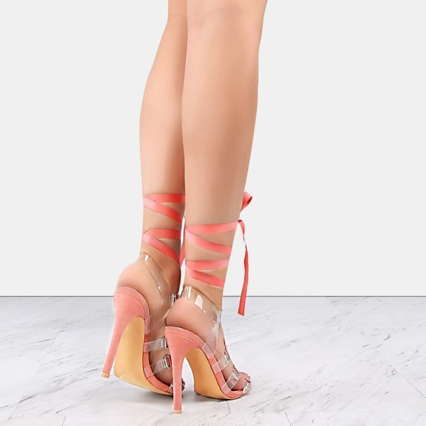 Pink and Clear Strappy Sandals Open Toe Stilettos Heels image 4