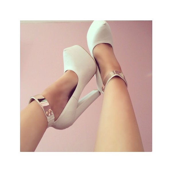 White Chunky Heel Metal Ankle Strap Heels image 1