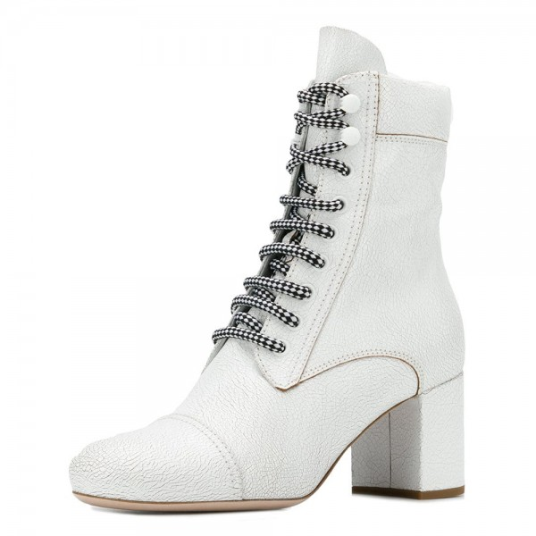 White Round Toe Lace Up Boots Block