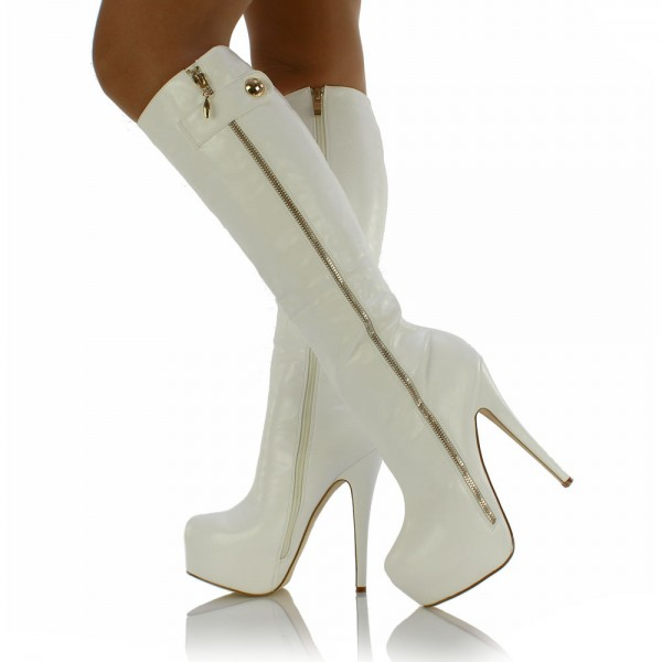White Almond Toe Zip Platform Boots Stiletto Heel Knee