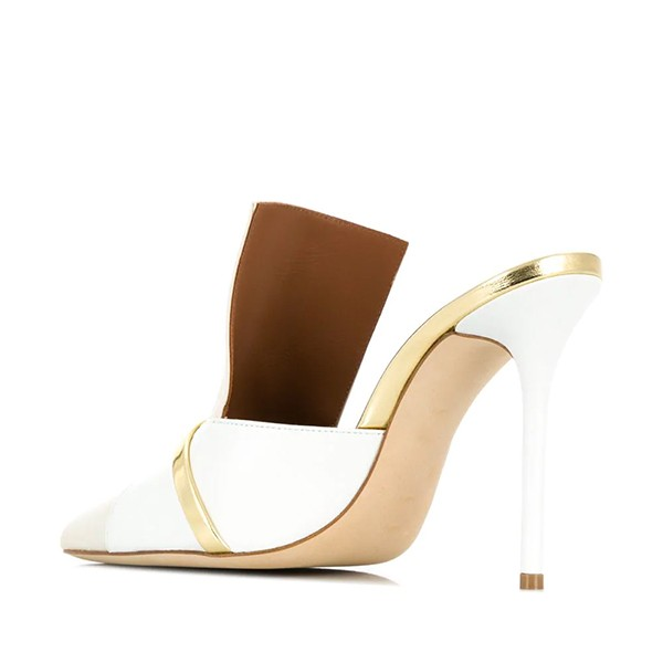 White and Beige Pointy Toe Stiletto Heels Mules for Lady image 4