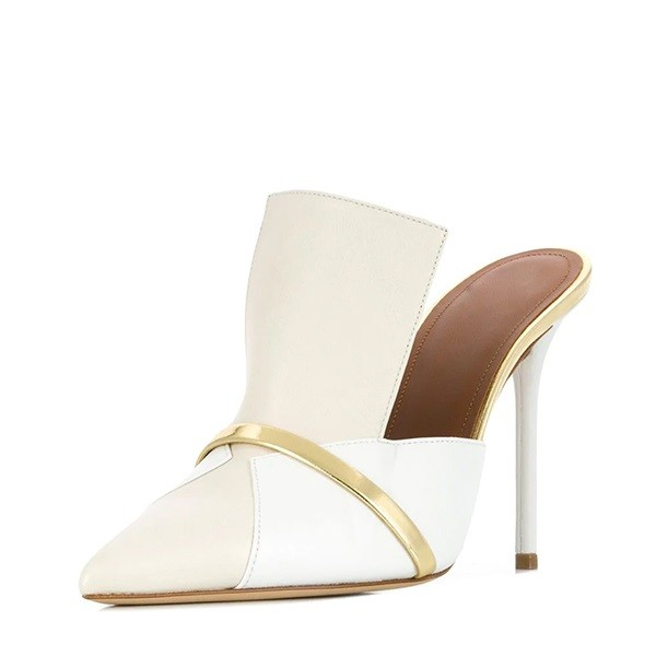 White and Beige Pointy Toe Stiletto Heels Mules for Lady image 1