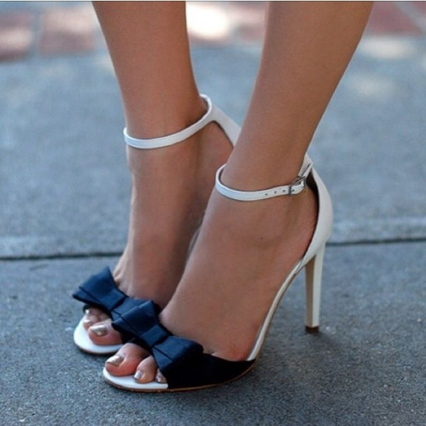 f25f4a9c4 White and Black Bow Ankle Strap Sandals image 1 ...