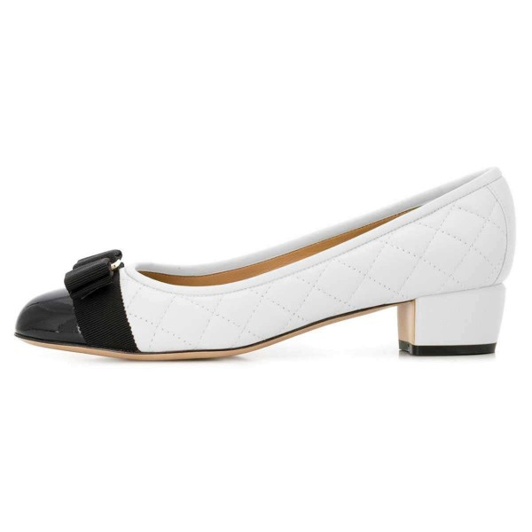 White and Black Bow Chunky Heel Pumps Office Heels image 2