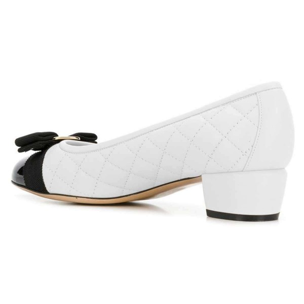 White and Black Bow Chunky Heel Pumps Office Heels image 3