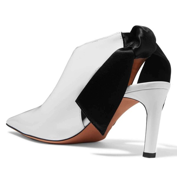 White and Black Chukny Heels Pointy Toe Bow Slingback Pumps image 3