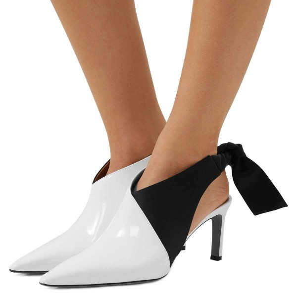 White and Black Chukny Heels Pointy Toe Bow Slingback Pumps image 1