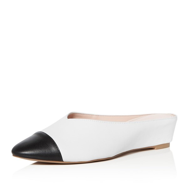 675e646cbac15 White and Black Mule Pointed Toe Wedge Heels for Women