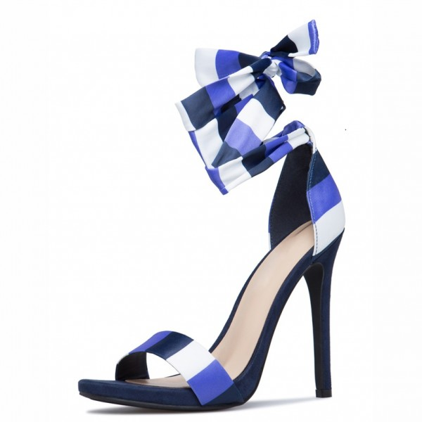 White and Blue Satin Stiletto Heels Open Toe Strappy Sandals image 1