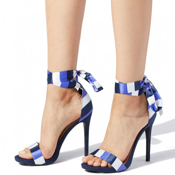 White and Blue Satin Stiletto Heels Open Toe Strappy Sandals image 2