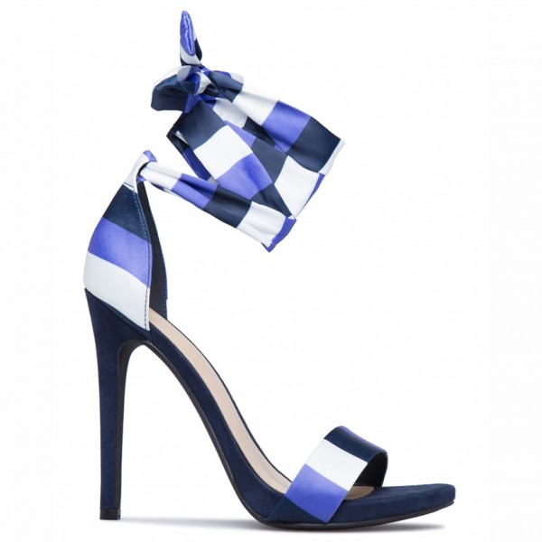 White and Blue Satin Stiletto Heels Open Toe Strappy Sandals image 4
