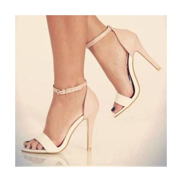 Women's White and Blush Ankle Strap Sandals Stiletto Heels Dress Shoes image 1