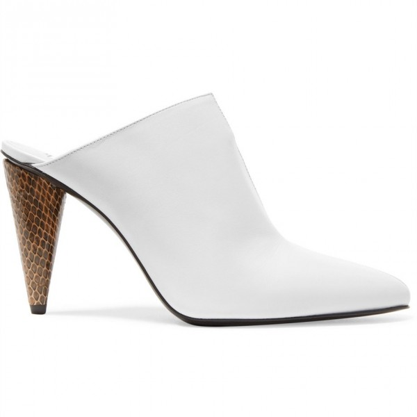 White and Brown Python Pointed Toe Cone Heels Mule image 2