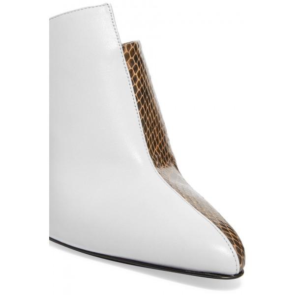 White and Brown Python Pointed Toe Cone Heels Mule image 3
