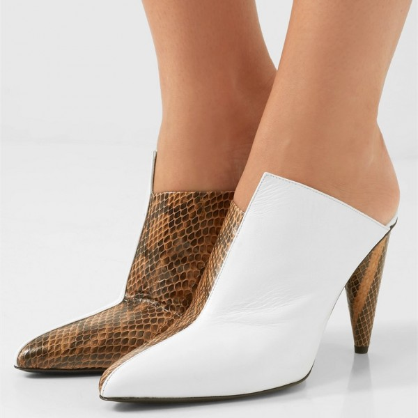 White and Brown Python Pointed Toe Cone Heels Mule image 1
