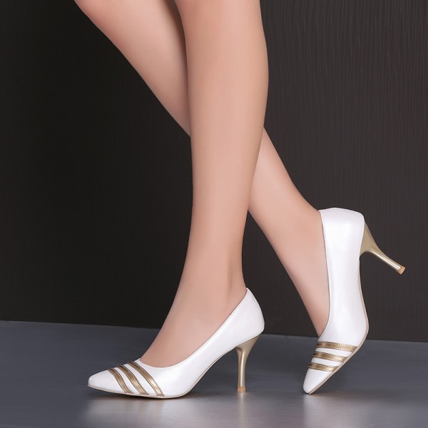 Women's White and Gold Dress Shoes Stiletto Heels Pumps Evening Shoes for Cocktail Party image 3