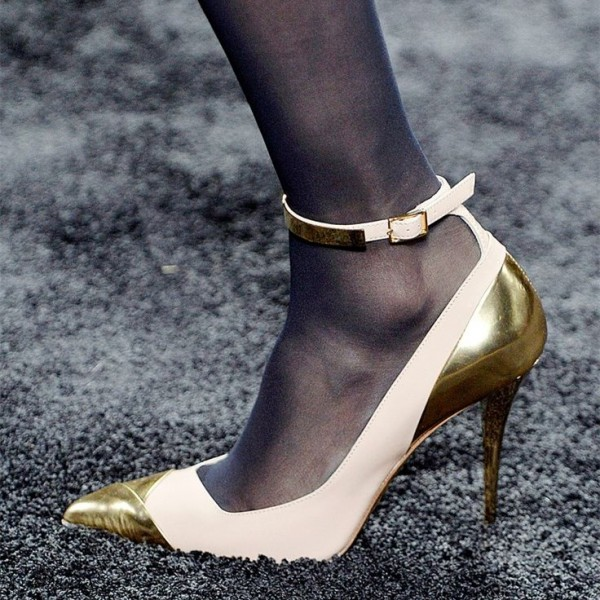Beige and Gold Pointy Toe Stiletto Heels Ankle Strap Pumps by FSJ image 1