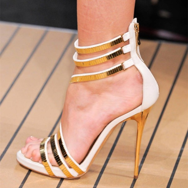 White and Gold Strappy Stiletto Heels Open Toe Sandals For Party image 1