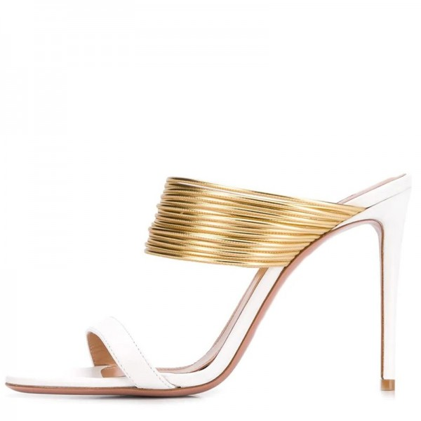 White and Gold Strap Mule Heels image 2
