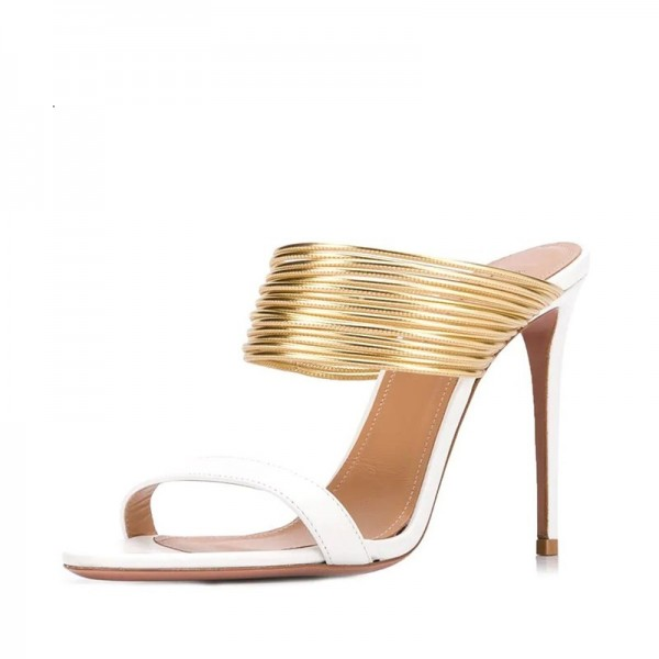 White and Gold Strap Mule Heels image 1