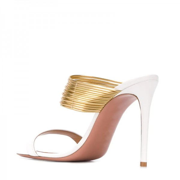 White and Gold Strap Mule Heels image 4