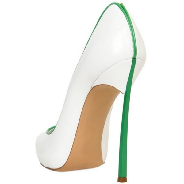 White and Green 5 Inches Stiletto Heels Pointy Toe Office Heels Pumps image 5