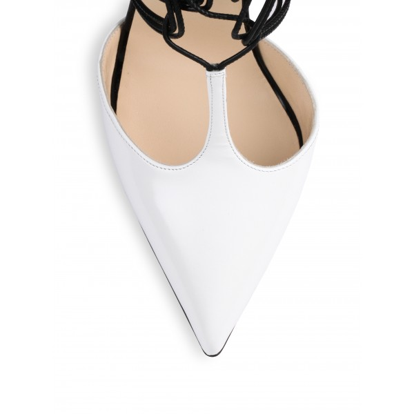 5e17bf7ff55d ... White and Khaki Leopard Print Heels T Strap Strappy Pumps image 3 ...