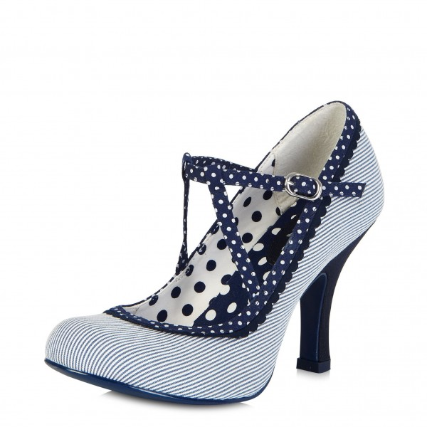 White and Navy Stripes Polka Dot Chunky Heel Mary Jane Pumps image 1