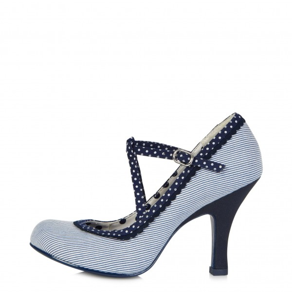 White and Navy Stripes Polka Dot Chunky Heel Mary Jane Pumps image 3