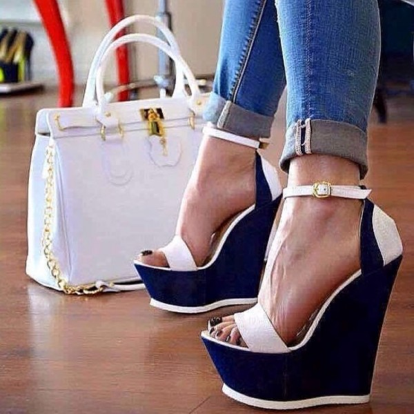 White and Navy Wedge Sandals Ankle Strap Open Toe Platform Shoes image 1
