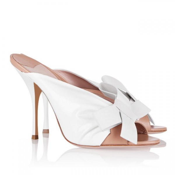 White and Blush Two Tone Mule Heels Peep Toe Bow Stiletto Heels image 2