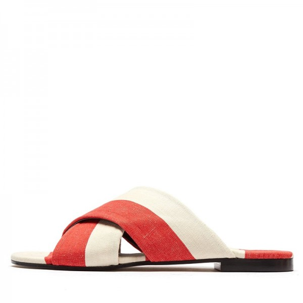White and Orange Women's Slide Sandals image 1