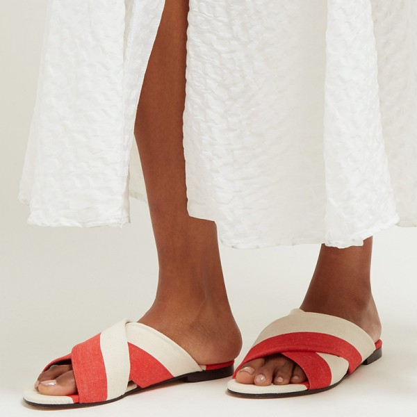 White and Orange Women's Slide Sandals image 3