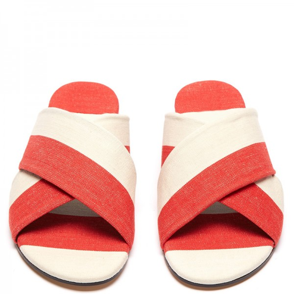 White and Orange Women's Slide Sandals image 4