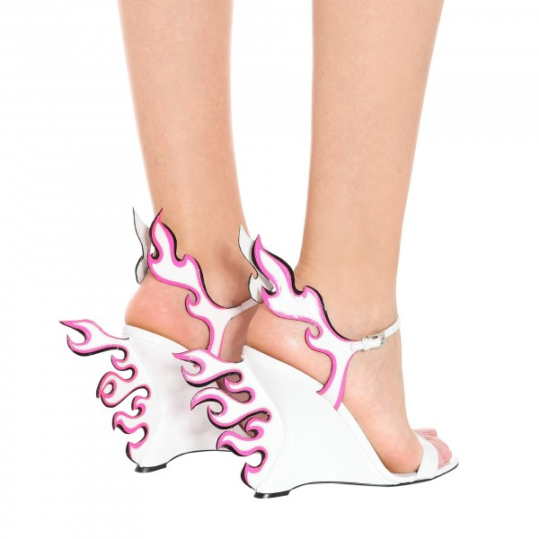 White and Pink Wedge Heels Flame Style Sandals image 3