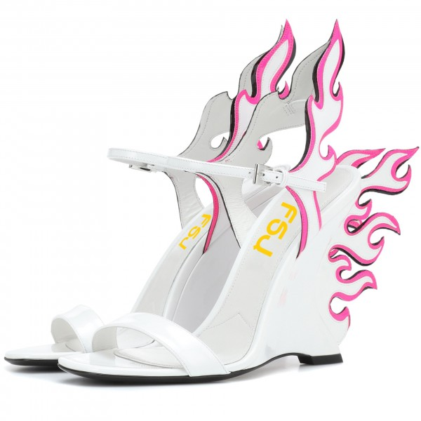 White and Pink Wedge Heels Flame Style Sandals image 1