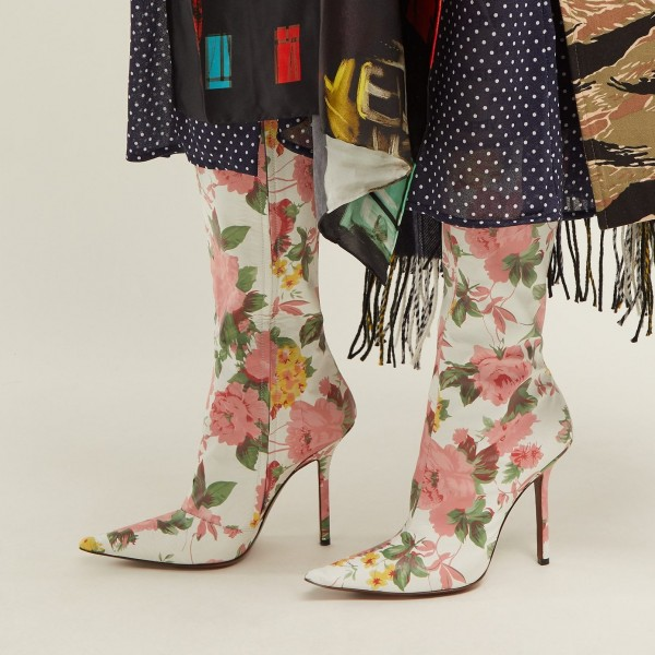 White and Pink Floral Fashion Boots Stiletto Heel Knee-high Boots image 3