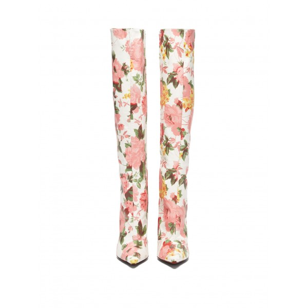 White and Pink Floral Fashion Boots Stiletto Heel Knee-high Boots image 4