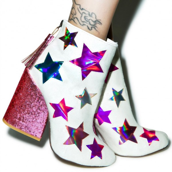 White and Pink Glitter Holographic Stars Chunky Heel Fashion Boots image 5