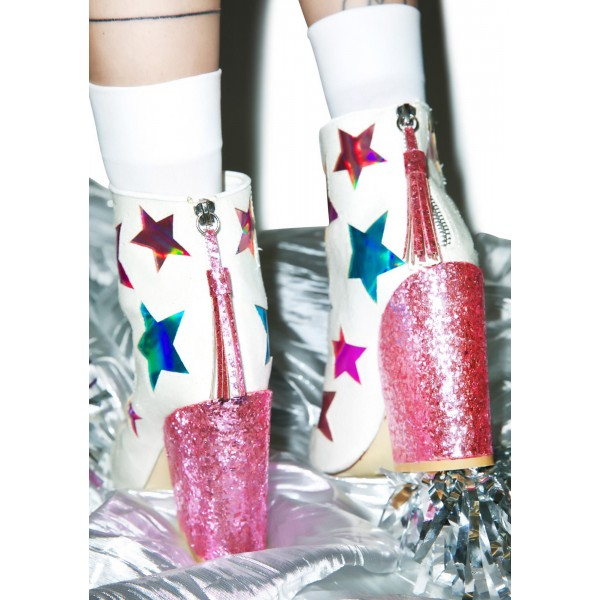 White and Pink Glitter Holographic Stars Chunky Heel Fashion Boots image 3