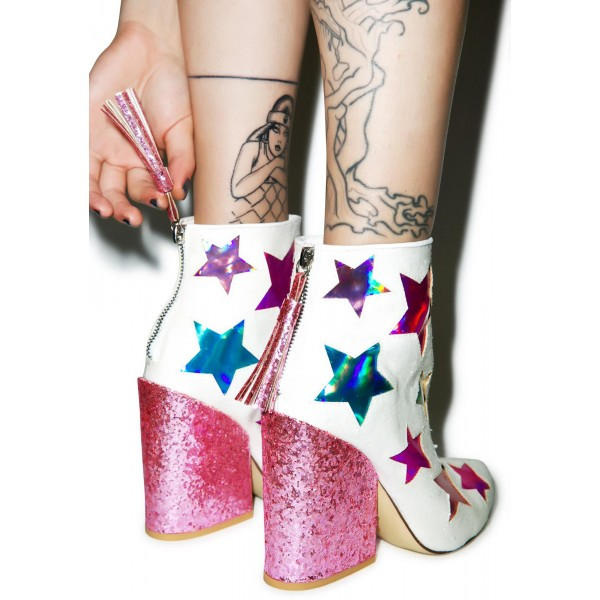 White and Pink Glitter Holographic Stars Chunky Heel Fashion Boots image 4