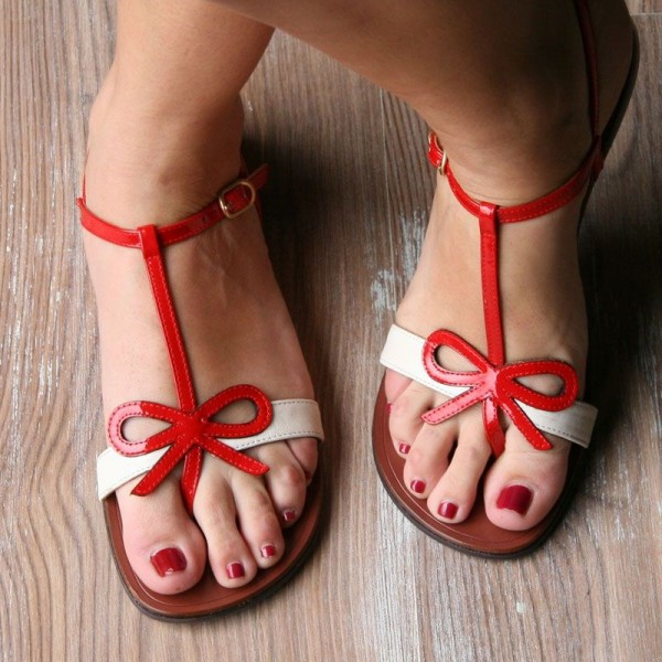 White and Red Bow Sandals Open Toe T Strap Flat Sandals image 2