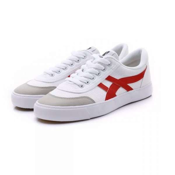 White and Red Lace up Hui Li Sneakers