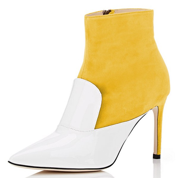 White and Yellow Stiletto Boots Ankle Boots image 1