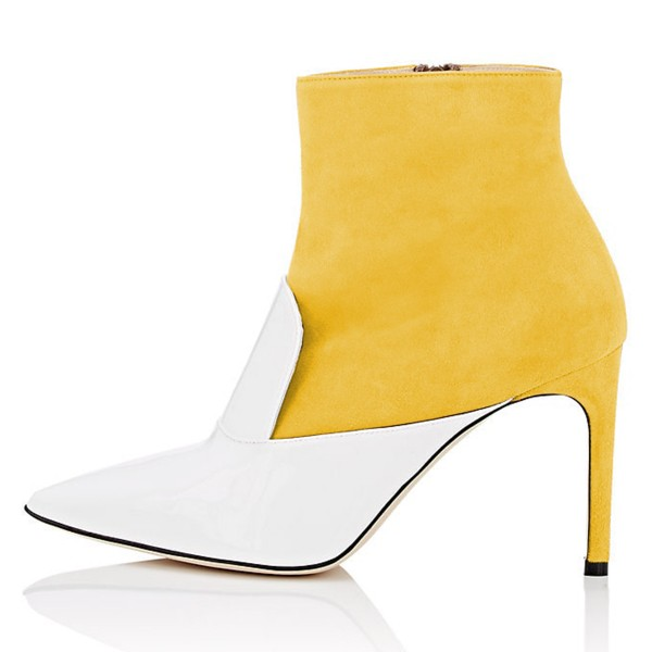 White and Yellow Stiletto Boots Ankle Boots image 3