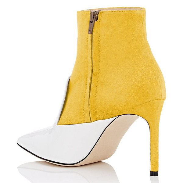 White and Yellow Stiletto Boots Ankle Boots image 4
