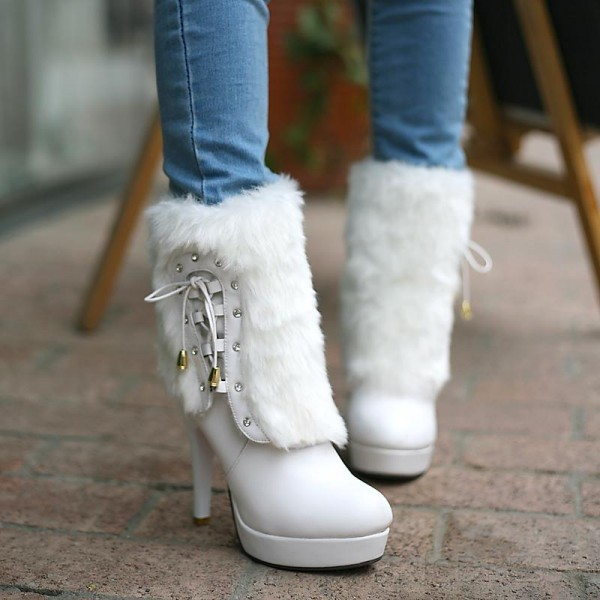 White Fur Boots Round Toe Platform Ankle Boots for Cold Weather image 3