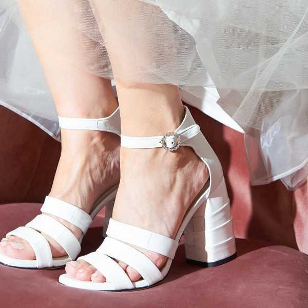 White Ankle Strap Chunky Heel Wedding Sandals image 1