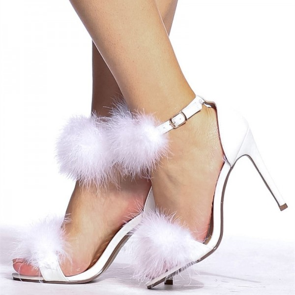 White Furry Heels Ankle Strap Open Toe Stiletto Heel Sandals image 3